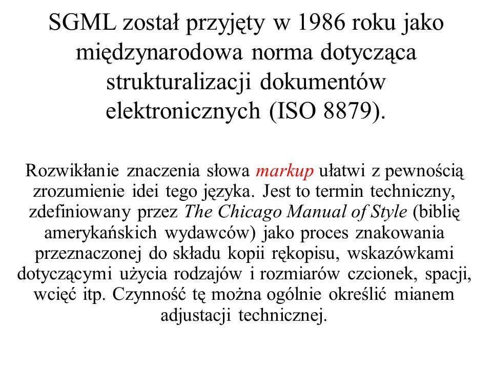 Schemat rozwoju XML i języków pochodnych