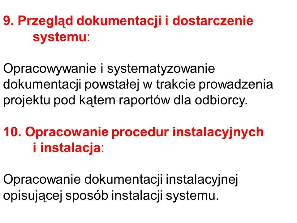 9. Przegląd dokumentacji i dostarczenie systemu: Opracowywanie i systematyzowanie dokumentacji powstałej w trakcie prowadzenia projektu pod kątem rapo