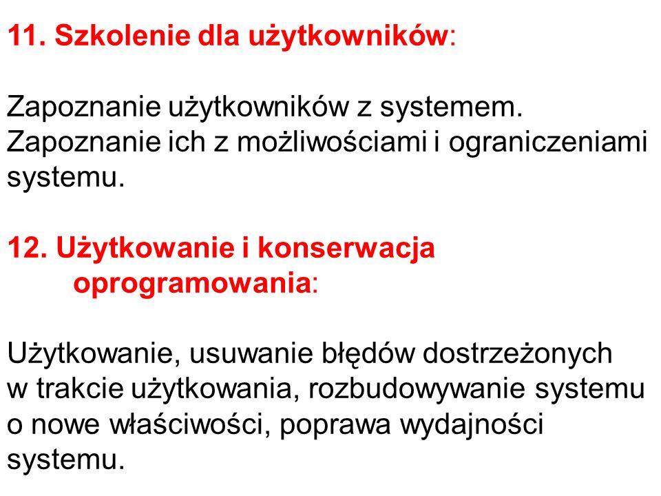 11. Szkolenie dla użytkowników: Zapoznanie użytkowników z systemem. Zapoznanie ich z możliwościami i ograniczeniami systemu. 12. Użytkowanie i konserw