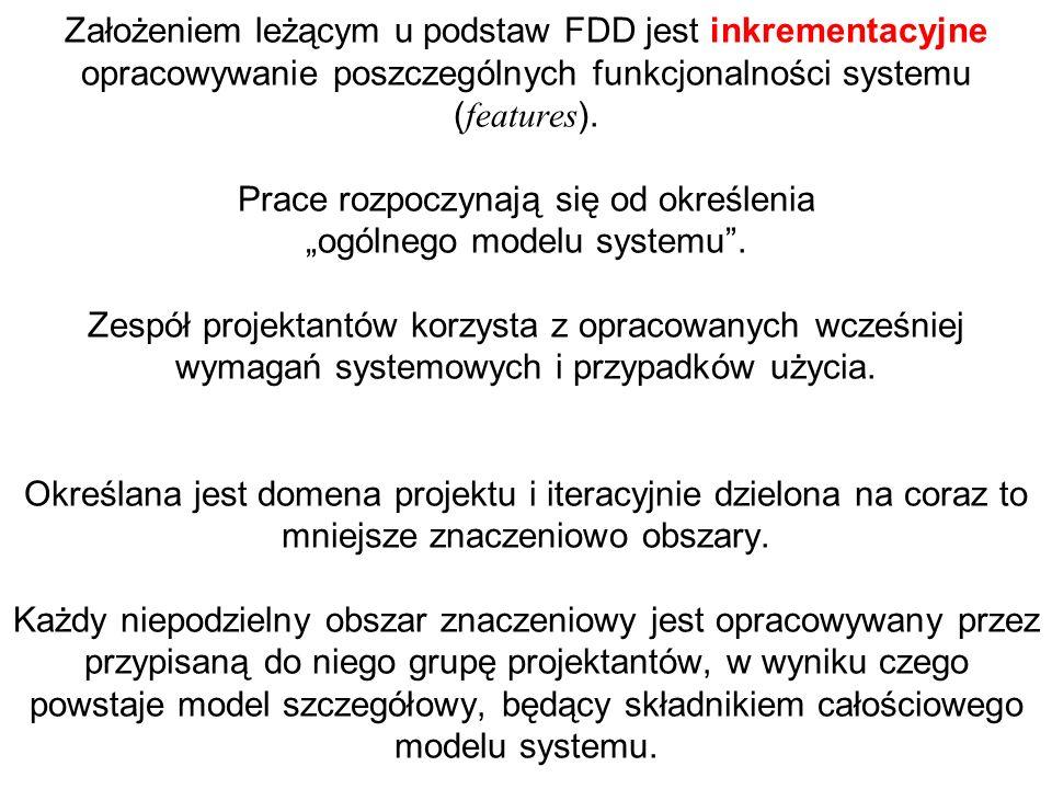 Założeniem leżącym u podstaw FDD jest inkrementacyjne opracowywanie poszczególnych funkcjonalności systemu ( features ). Prace rozpoczynają się od okr