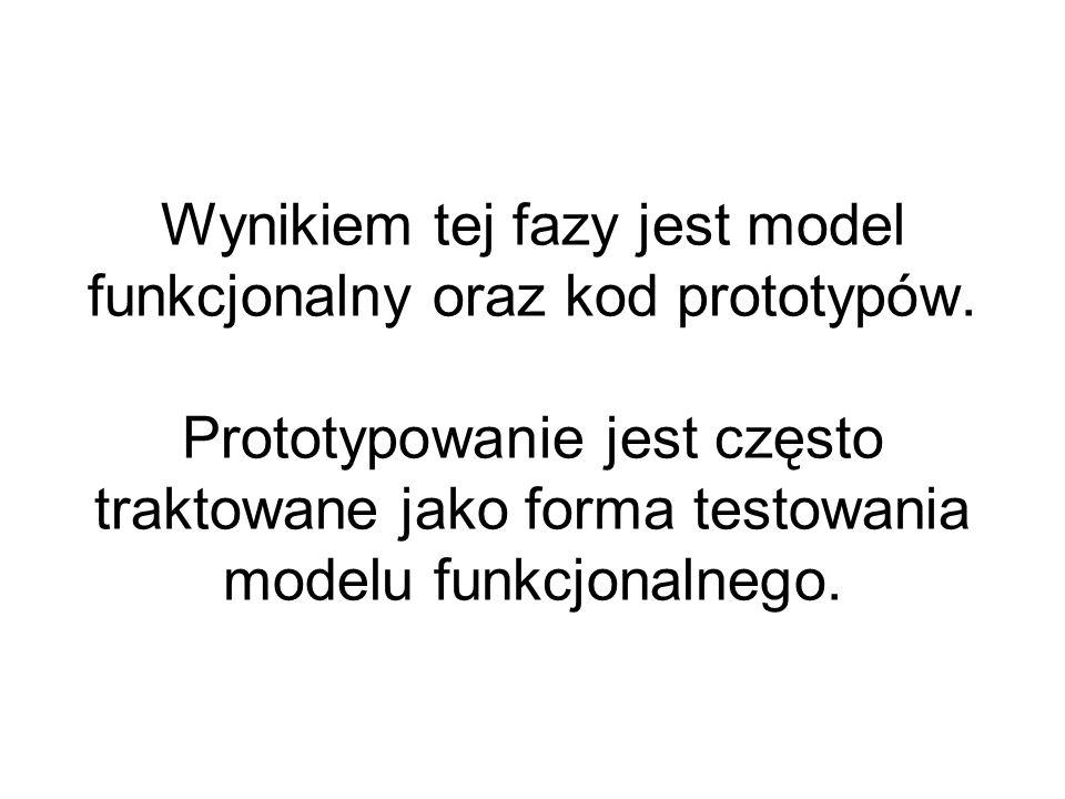 Wynikiem tej fazy jest model funkcjonalny oraz kod prototypów. Prototypowanie jest często traktowane jako forma testowania modelu funkcjonalnego.