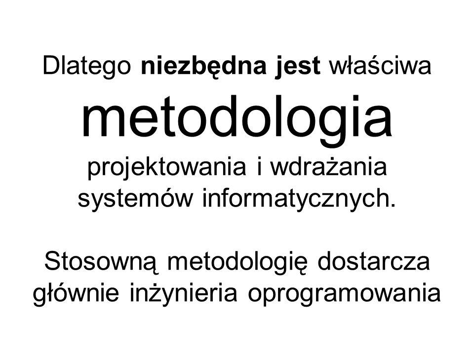 Dlatego niezbędna jest właściwa metodologia projektowania i wdrażania systemów informatycznych. Stosowną metodologię dostarcza głównie inżynieria opro