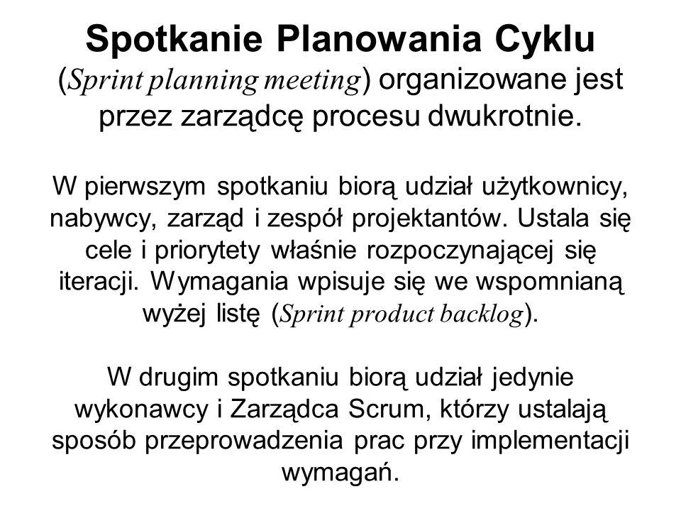 Spotkanie Planowania Cyklu ( Sprint planning meeting ) organizowane jest przez zarządcę procesu dwukrotnie. W pierwszym spotkaniu biorą udział użytkow