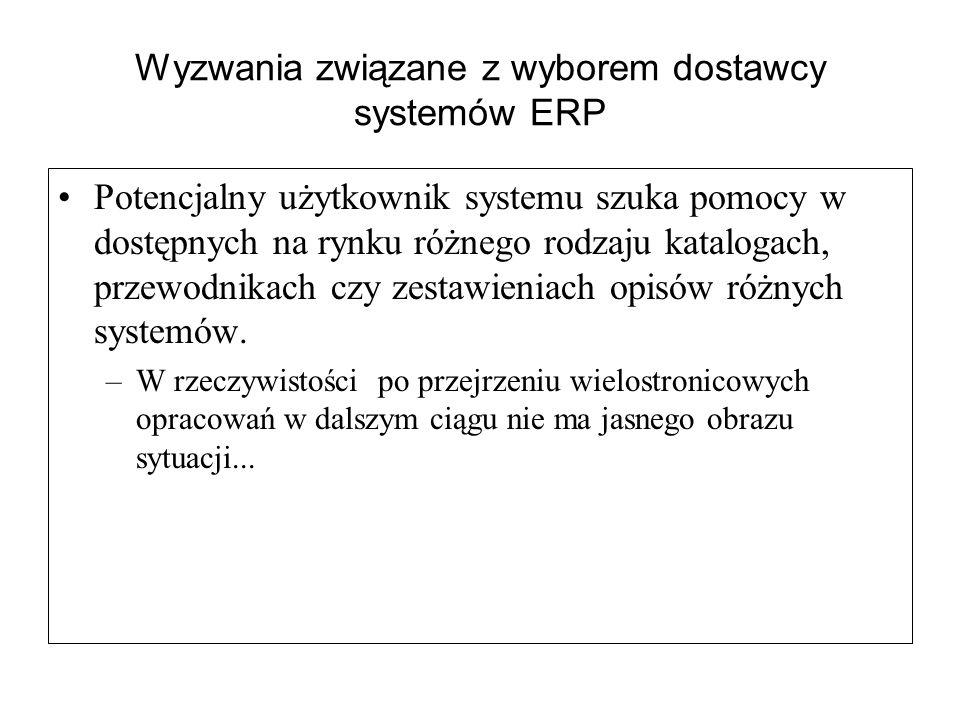 Wyzwania związane z wyborem dostawcy systemów ERP Potencjalny użytkownik systemu szuka pomocy w dostępnych na rynku różnego rodzaju katalogach, przewo