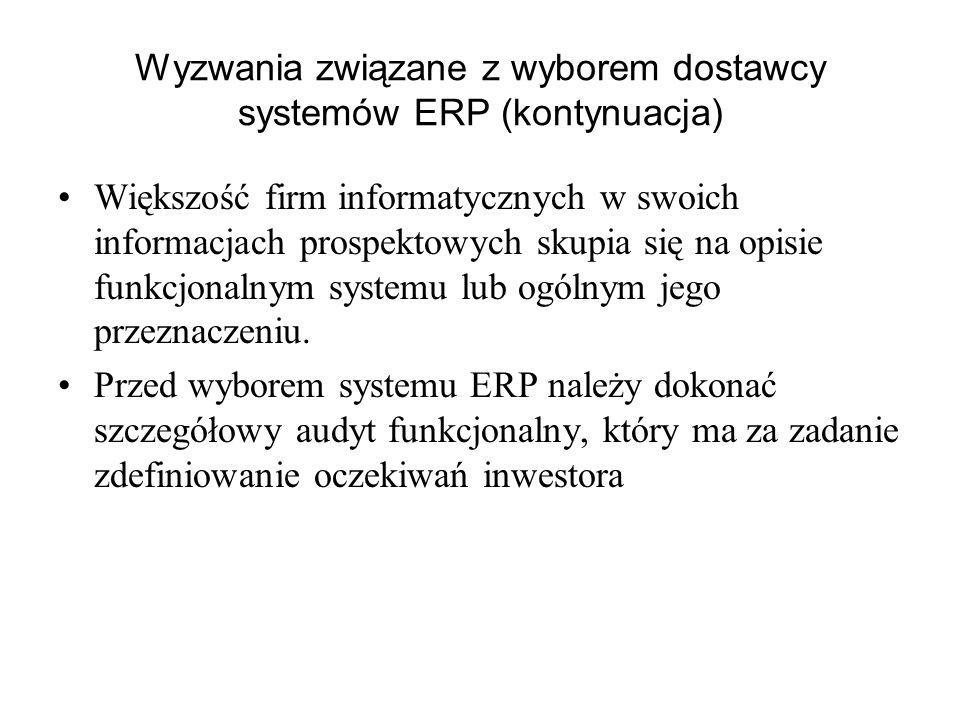 Wyzwania związane z wyborem dostawcy systemów ERP (kontynuacja) Większość firm informatycznych w swoich informacjach prospektowych skupia się na opisi