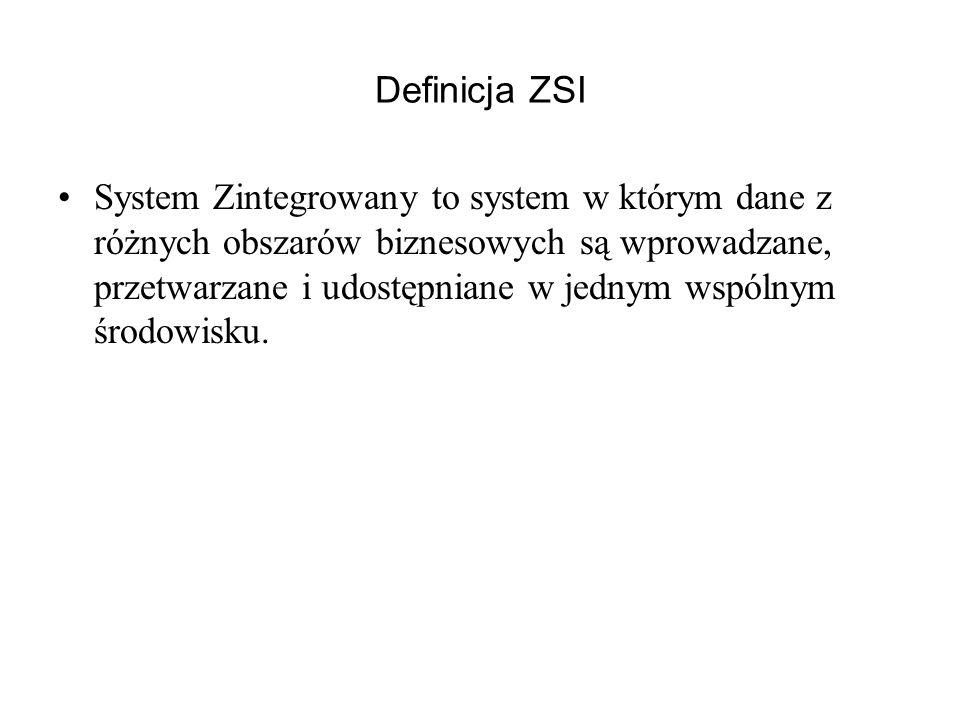 Definicja ZSI System Zintegrowany to system w którym dane z różnych obszarów biznesowych są wprowadzane, przetwarzane i udostępniane w jednym wspólnym