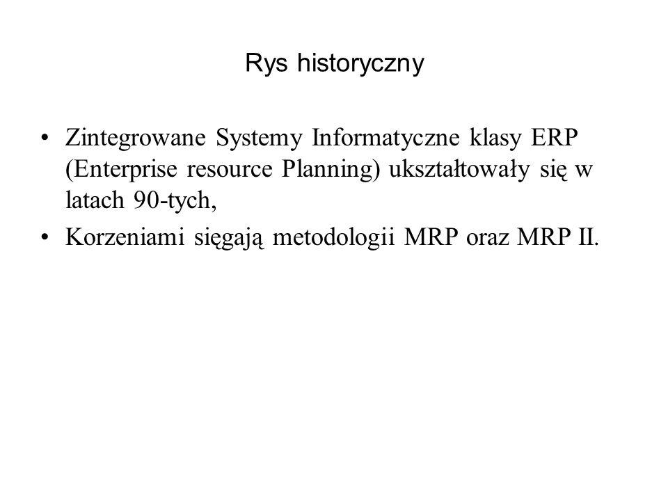 Rys historyczny Zintegrowane Systemy Informatyczne klasy ERP (Enterprise resource Planning) ukształtowały się w latach 90-tych, Korzeniami sięgają met