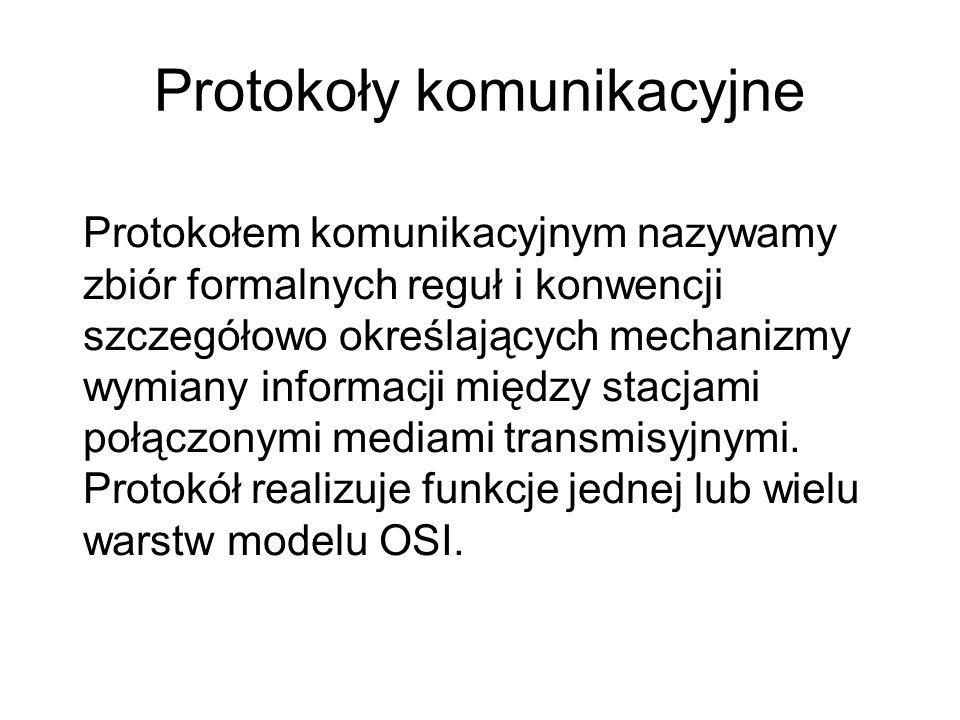 Protokoły komunikacyjne Protokołem komunikacyjnym nazywamy zbiór formalnych reguł i konwencji szczegółowo określających mechanizmy wymiany informacji