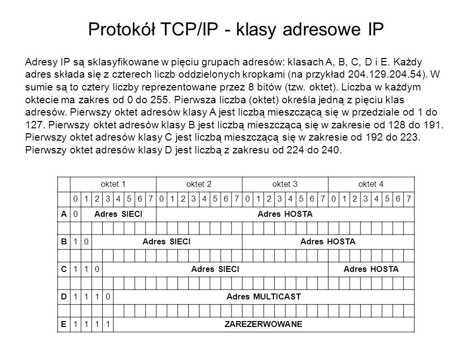 Protokół TCP/IP - klasy adresowe IP oktet 1oktet 2oktet 3oktet 4 01234567012345670123456701234567 A0Adres SIECIAdres HOSTA B10Adres SIECIAdres HOSTA C