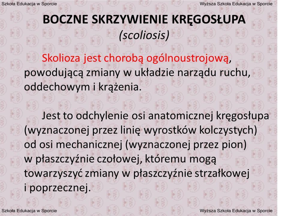 BOCZNE SKRZYWIENIE KRĘGOSŁUPA (scoliosis) Skolioza jest chorobą ogólnoustrojową, powodującą zmiany w układzie narządu ruchu, oddechowym i krążenia. Je