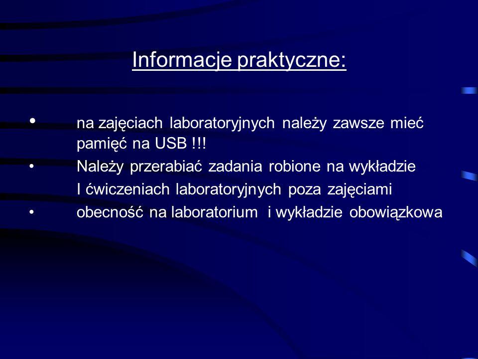 Organizacja zajęć: I semestr: 1 g. wykładu i 2 g. zajęć lab. tyg. Pakiety biurowe ( Arkusz kalkulacyjny, Bazy danych), Sieci komputerowe (wykład): pod
