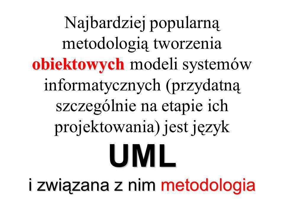 obiektowych UML i związana z nim metodologia Najbardziej popularną metodologią tworzenia obiektowych modeli systemów informatycznych (przydatną szczególnie na etapie ich projektowania) jest język UML i związana z nim metodologia