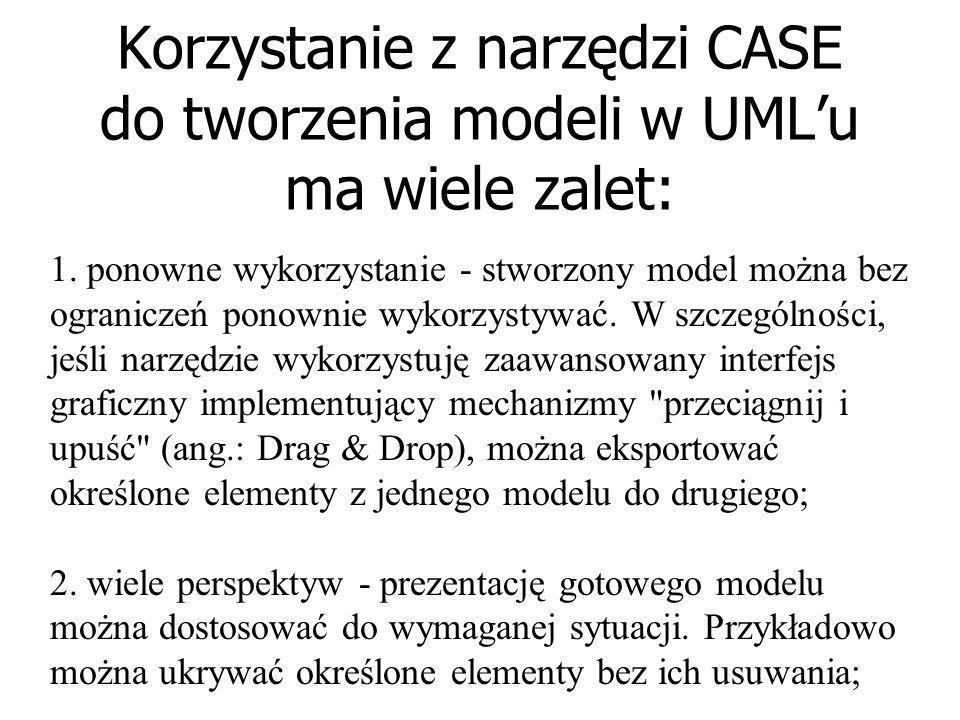 CASE Do tworzenia modeli systemu informatycznego wykorzystuję się różnorodne techniki. Poczynając od ołówka i kartki papieru, a kończąc na zaawansowan