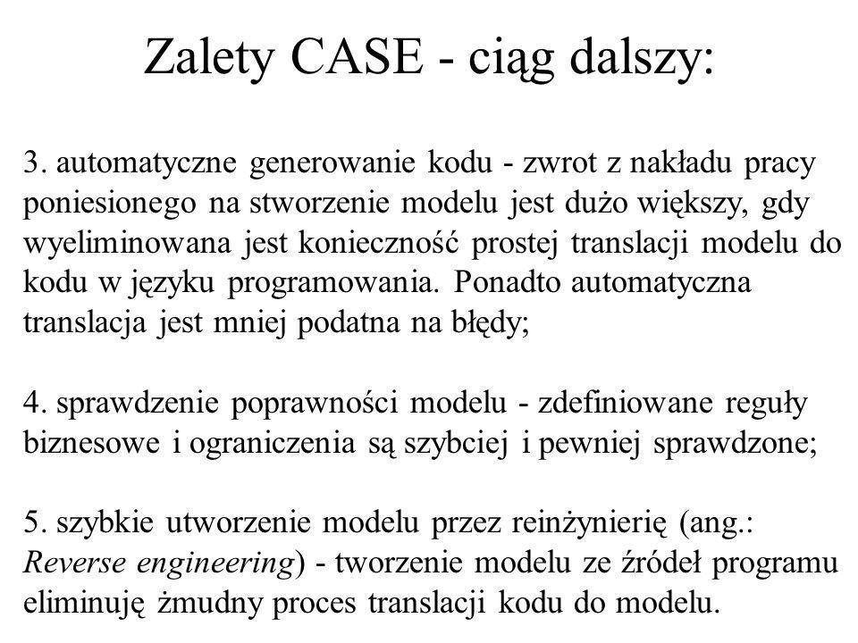 Korzystanie z narzędzi CASE do tworzenia modeli w UMLu ma wiele zalet: 1. ponowne wykorzystanie - stworzony model można bez ograniczeń ponownie wykorz