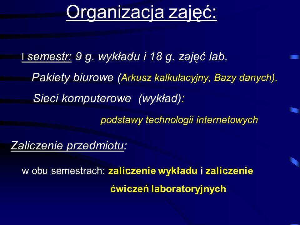 TECHNOLOGIE INFORMACYJNE Wykładowca: mgr Tadeusz Ziębakowski p. 126 I piętro (naprzeciw dziekanatu)