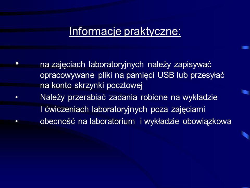 Organizacja zajęć: I semestr: 9 g. wykładu i 18 g. zajęć lab. Pakiety biurowe ( Arkusz kalkulacyjny, Bazy danych), Sieci komputerowe (wykład): podstaw