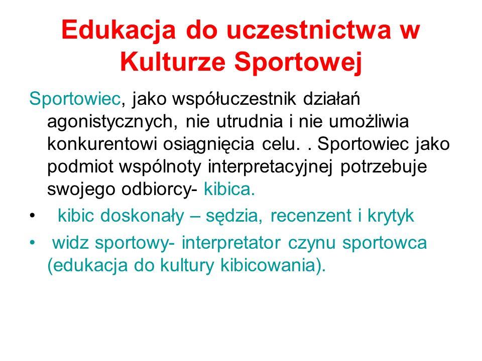 Edukacja do uczestnictwa w Kulturze Sportowej Sportowiec, jako współuczestnik działań agonistycznych, nie utrudnia i nie umożliwia konkurentowi osiągn