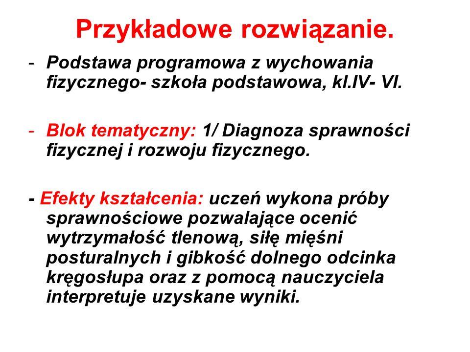 Przykładowe rozwiązanie. -Podstawa programowa z wychowania fizycznego- szkoła podstawowa, kl.IV- VI. -Blok tematyczny: 1/ Diagnoza sprawności fizyczne