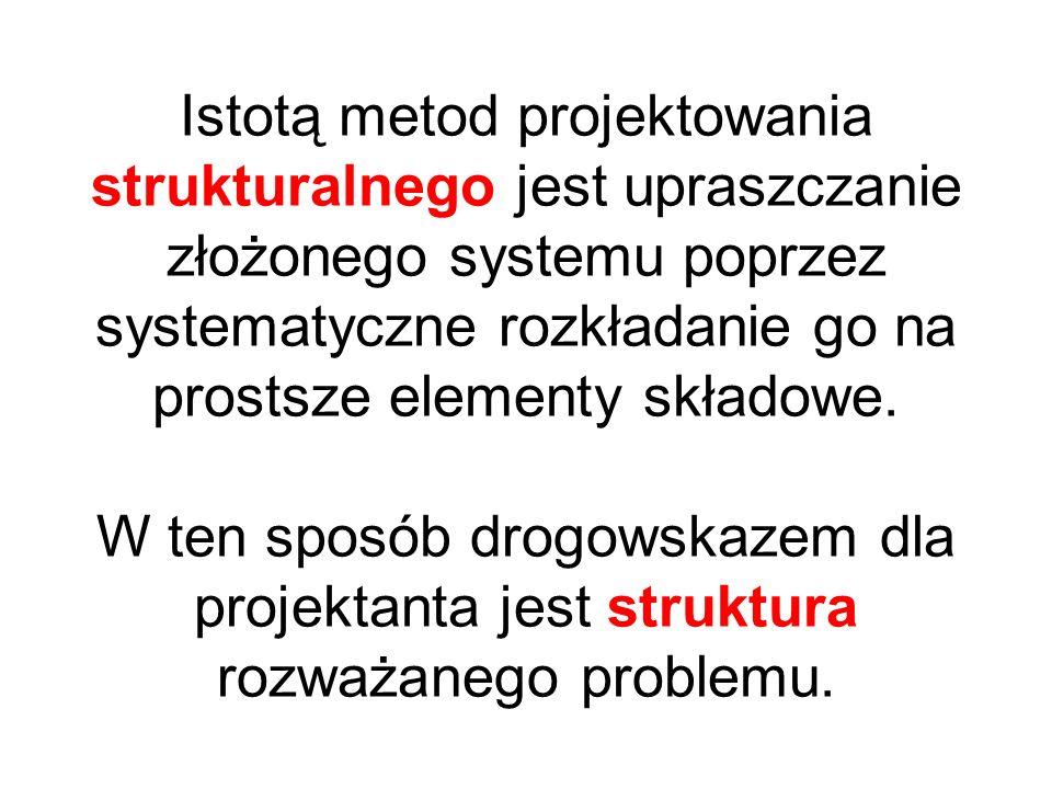 Istotą metod projektowania strukturalnego jest upraszczanie złożonego systemu poprzez systematyczne rozkładanie go na prostsze elementy składowe. W te