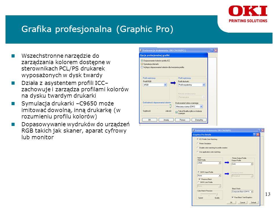 12 Bezpieczeństwo i kontrola nOpcja dysku twardego- pełna kontrola nad bezpieczeństwem pracy drukarki nProgram Print Control pozwala na wszechstronne