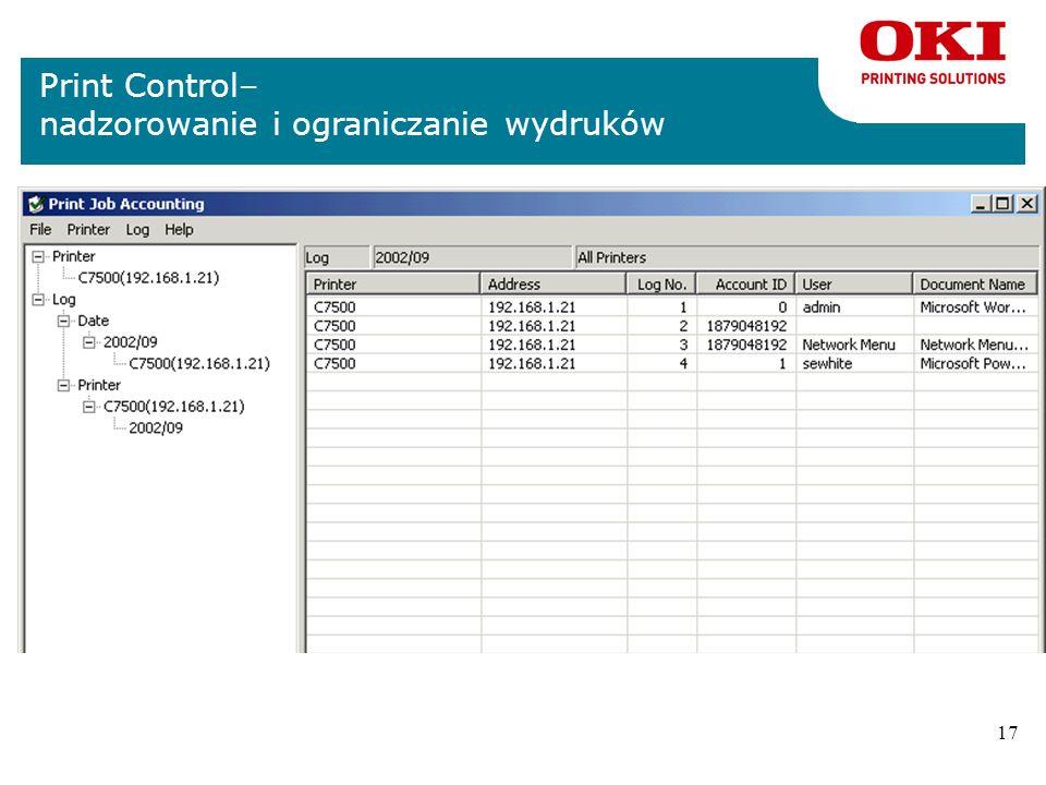 16 C9650 – inne dołączone aplikacje nBezpłatne oprogramowanie dostarczane razem z drukarką: nTemplate Manager – kreator szablonów. Pełne wykorzystanie
