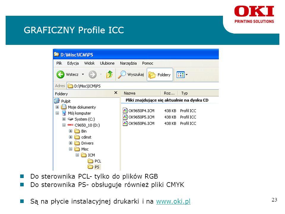 22 GRAFICZNY PostScript Gamma Utility nRegulacja udziału składowych CMYK nDla sterownika PostScript