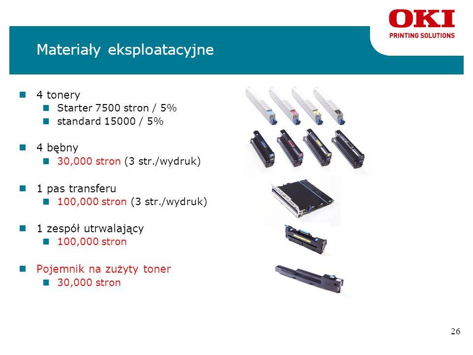 25 C9650 – materiały eksploatacyjne nWszystkie materiały eksploatacyjne są takie same jak do C9600/C9800 nWydajność tonerów: 15 000 stron / 5 % nToner