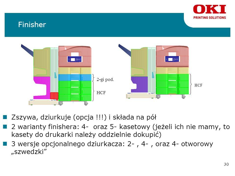 29 Finisher nFinisher jest opcją którą można dokupić nZszywa w wielu różnych pozycjach nDziurkacz (opcja !) w 3 różnych konfiguracjach nStandardowe zs