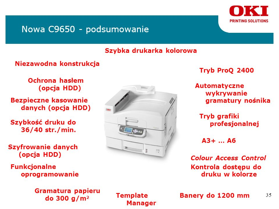 34 Co w pudełku? n4 x CD nDriver CD (sterowniki oraz oprogramowanie), Network CD (oprogramowanie sieciowe), Template Manager CD, User Guides CD nSetup