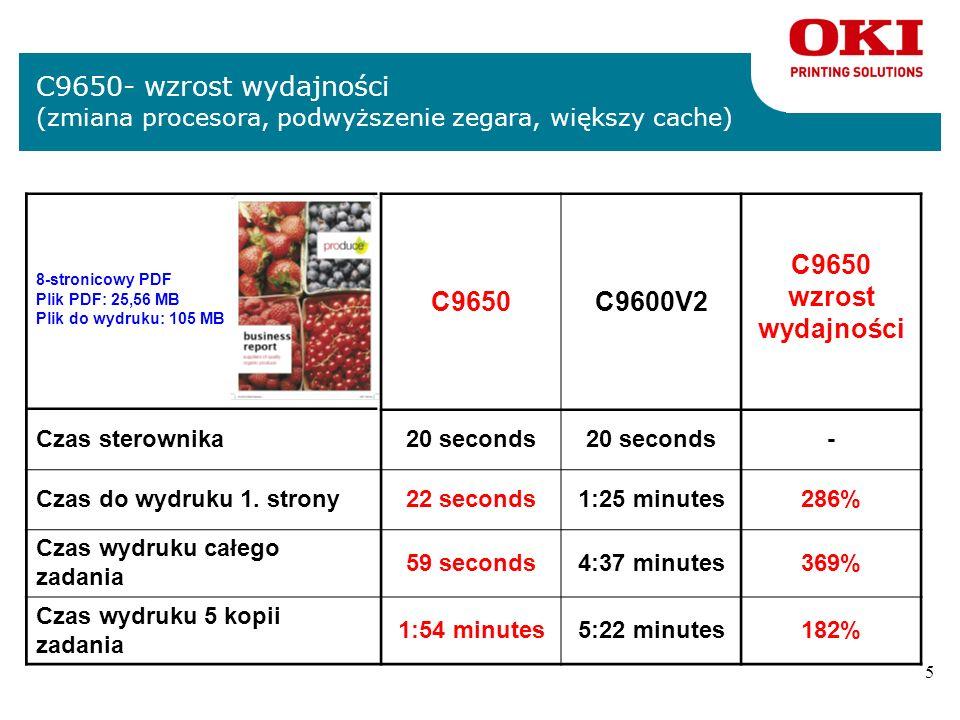 5 C9650- wzrost wydajności (zmiana procesora, podwyższenie zegara, większy cache) C9650C9600V2 C9650 wzrost wydajności Czas sterownika20 seconds - Czas do wydruku 1.
