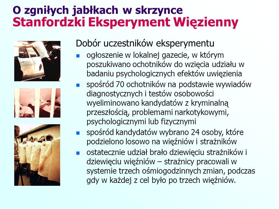Dobór uczestników eksperymentu ogłoszenie w lokalnej gazecie, w którym poszukiwano ochotników do wzięcia udziału w badaniu psychologicznych efektów uw