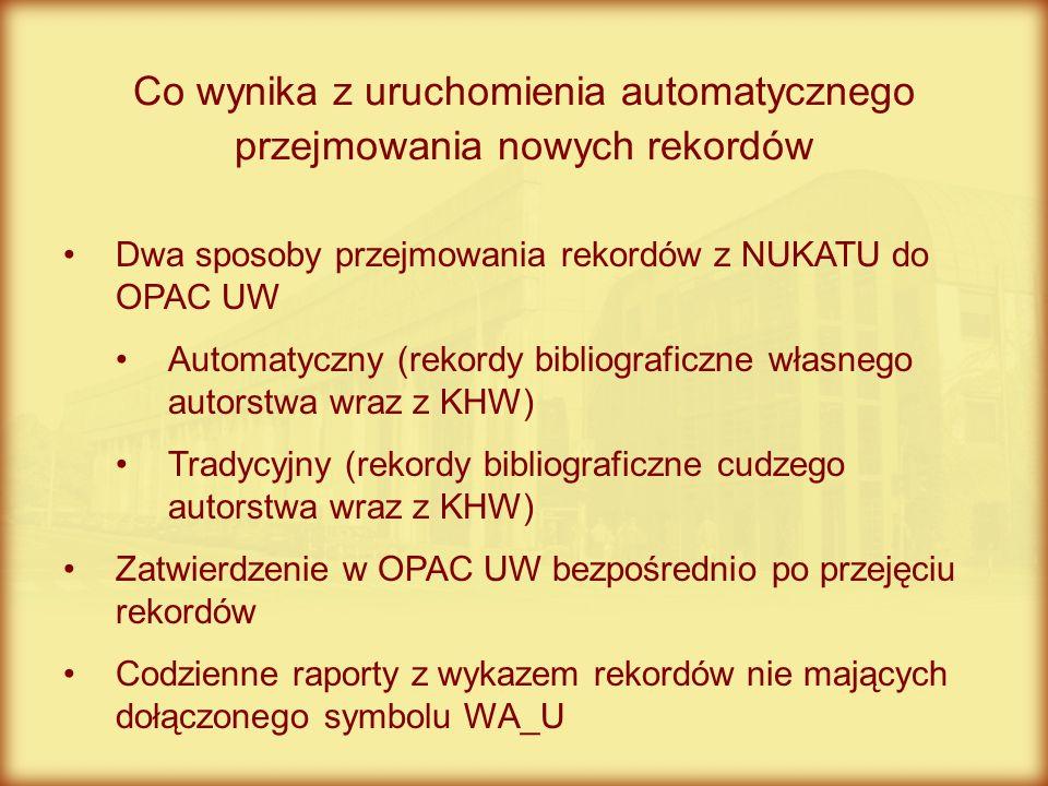 Dwa sposoby przejmowania rekordów z NUKATU do OPAC UW Automatyczny (rekordy bibliograficzne własnego autorstwa wraz z KHW) Tradycyjny (rekordy bibliog