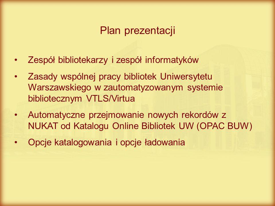 Zespół bibliotekarzy i zespół informatyków Zasady wspólnej pracy bibliotek Uniwersytetu Warszawskiego w zautomatyzowanym systemie bibliotecznym VTLS/V