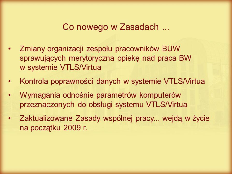 Zmiany organizacji zespołu pracowników BUW sprawujących merytoryczna opiekę nad praca BW w systemie VTLS/Virtua Kontrola poprawności danych w systemie