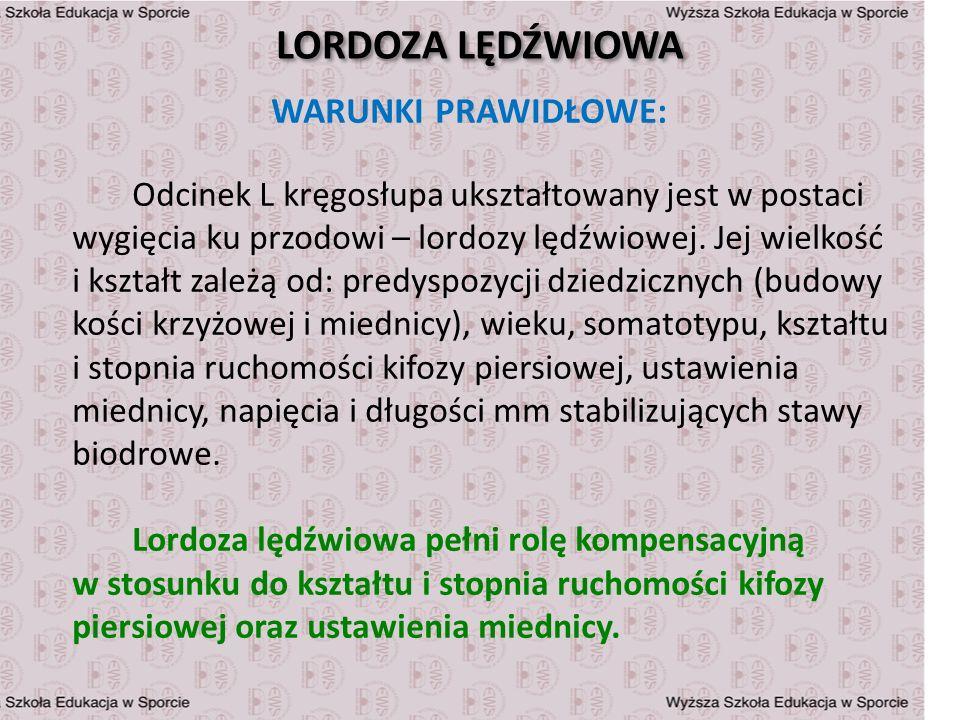 LORDOZA LĘDŹWIOWA WARUNKI PRAWIDŁOWE: Odcinek L kręgosłupa ukształtowany jest w postaci wygięcia ku przodowi – lordozy lędźwiowej. Jej wielkość i kszt