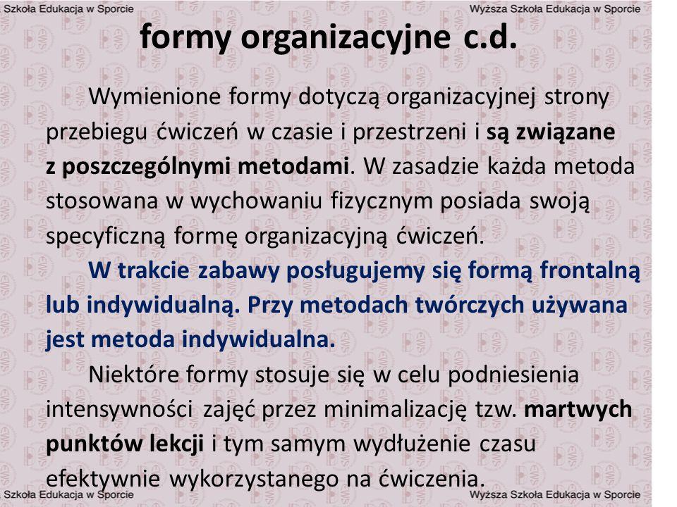 formy organizacyjne c.d. Wymienione formy dotyczą organizacyjnej strony przebiegu ćwiczeń w czasie i przestrzeni i są związane z poszczególnymi metoda