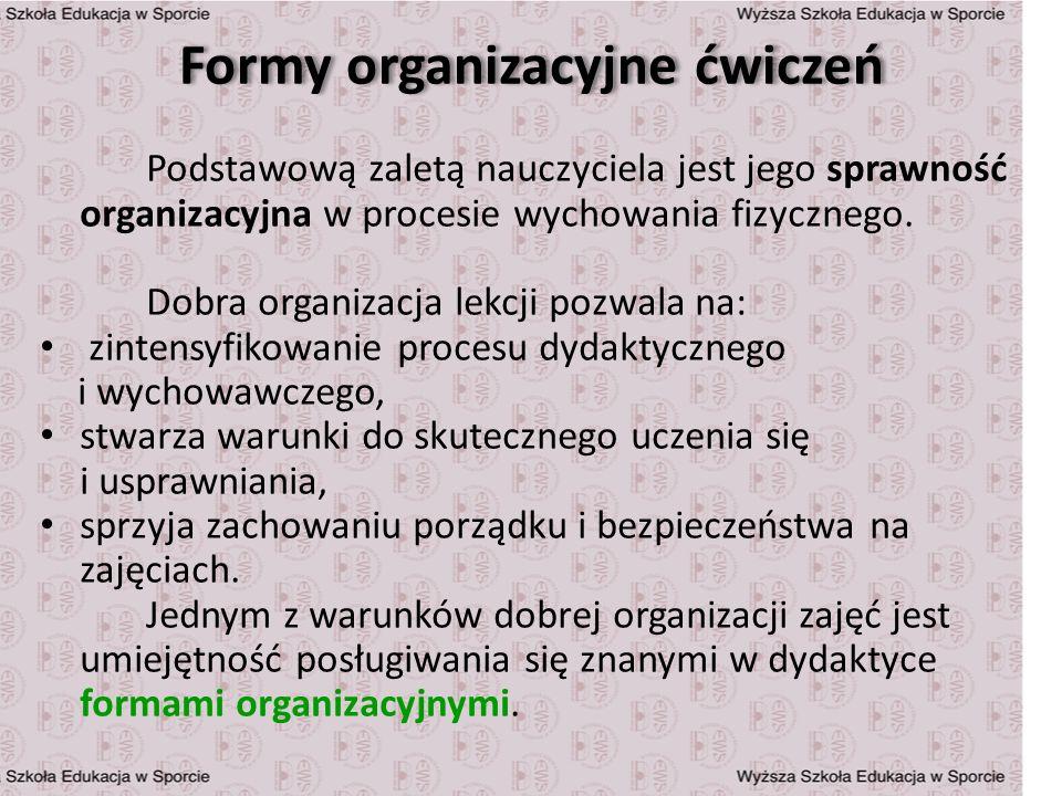 Formy organizacyjne ćwiczeń Podstawową zaletą nauczyciela jest jego sprawność organizacyjna w procesie wychowania fizycznego. Dobra organizacja lekcji