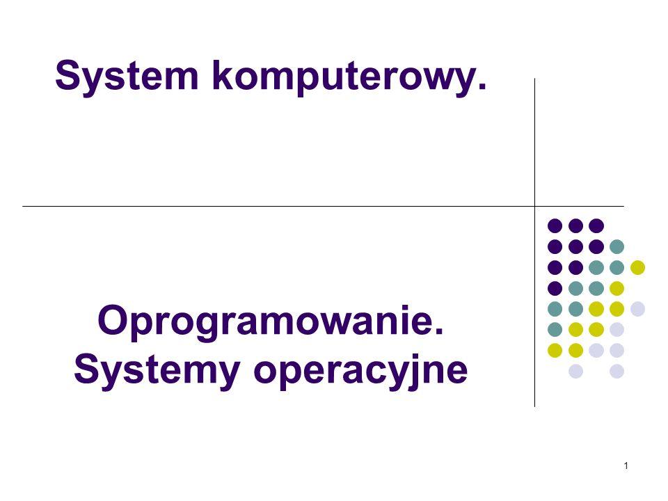 1 System komputerowy. Oprogramowanie. Systemy operacyjne