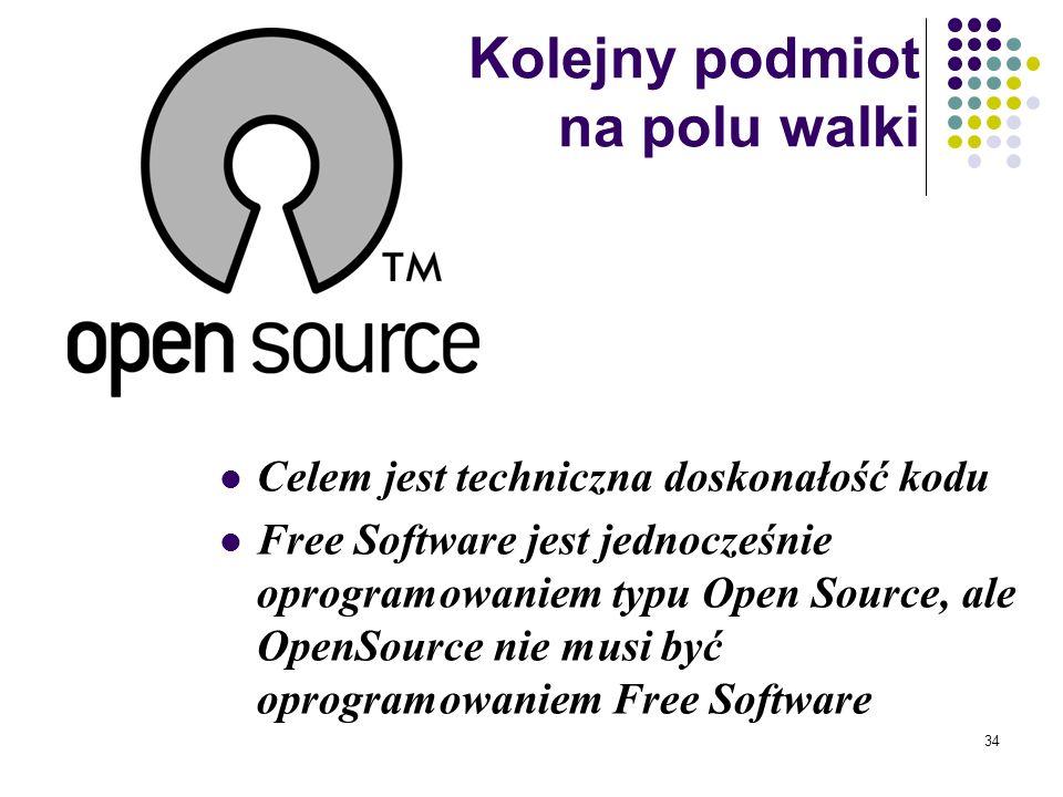 33 9. Licencja nie może ograniczać innego oprogramowania: licencja nie może wymagać np. tego, aby inne dystrybuowane z pakietem oprogramowanie było ty
