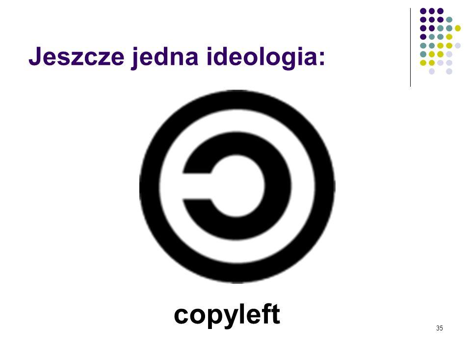34 Kolejny podmiot na polu walki Celem jest techniczna doskonałość kodu Free Software jest jednocześnie oprogramowaniem typu Open Source, ale OpenSour