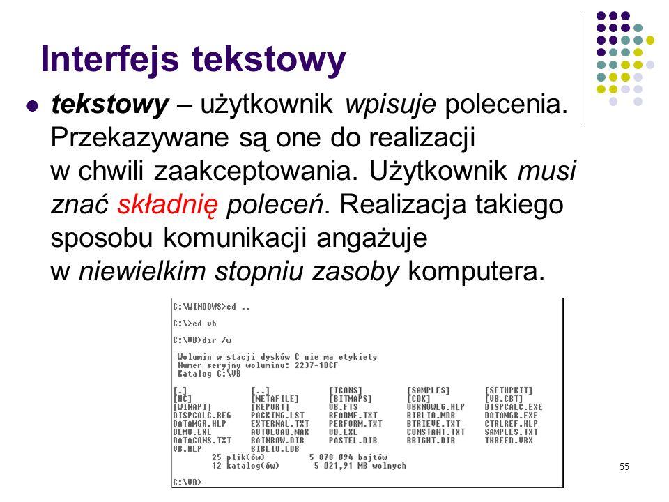 54 Komunikacja człowiek – komputer Interfejs użytkownika – oprogramowanie pozwalające na komunikację pomiędzy użytkownikiem a systemem informatycznym.