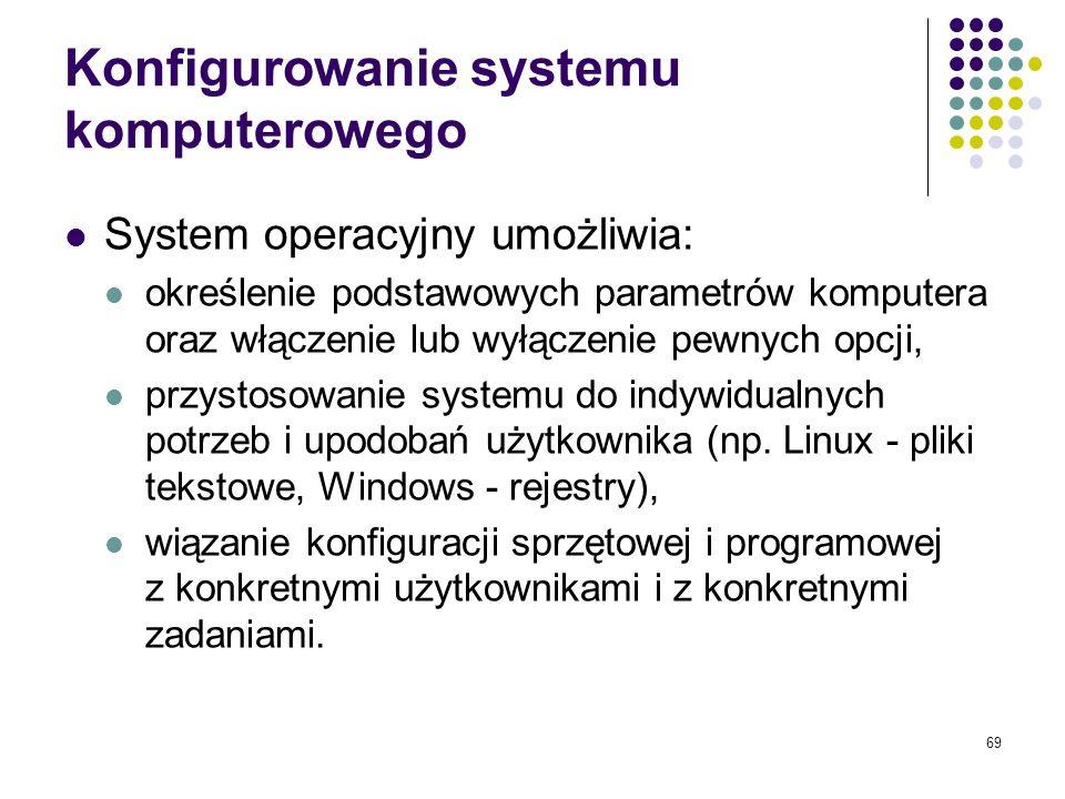 68 Realizacja funkcji sieciowych Sieć komputerowa – zestaw połączonych ze sobą komputerów. Podstawowe funkcje systemu operacyjnego związane z funkcjon