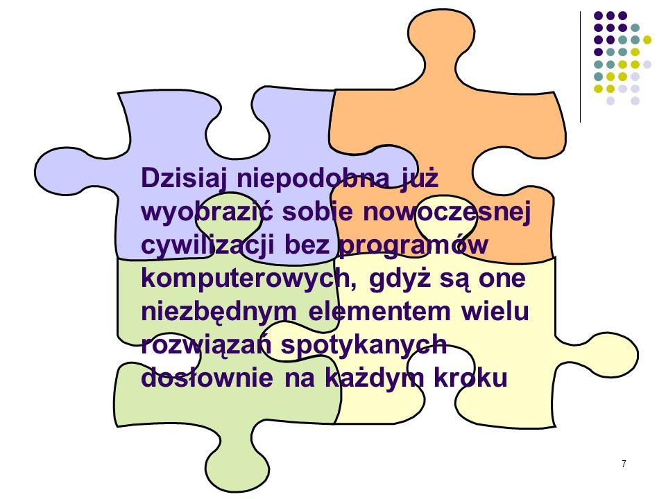 6 kluczowym Komputery, a za ich pośrednictwem także programy, są obecnie kluczowym składnikiem większości systemów technicznych i ekonomicznych
