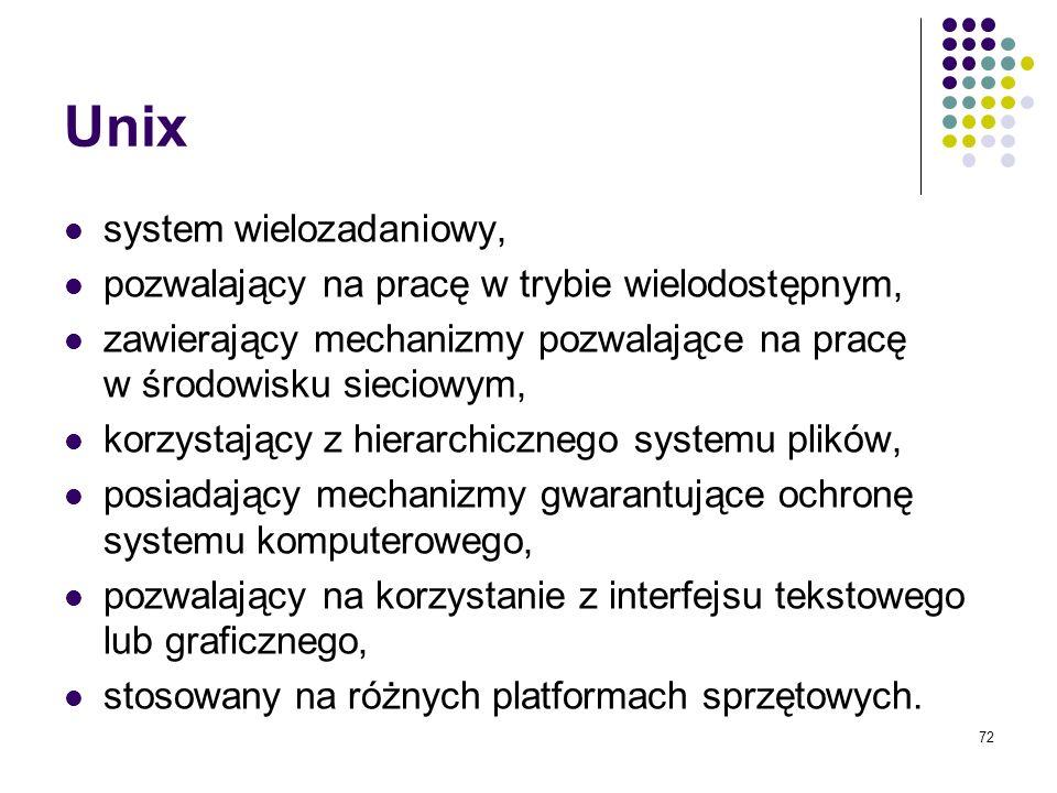 71 Charakterystyka przykładowych systemów operacyjnych Unix Linux MS Dos MS Windows