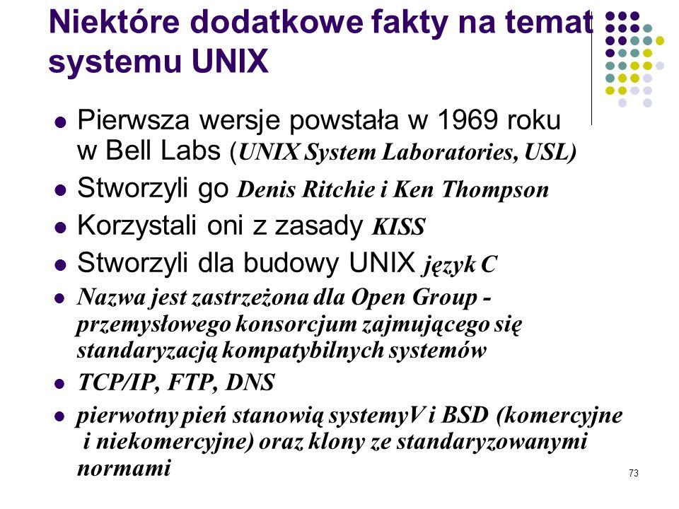 72 Unix system wielozadaniowy, pozwalający na pracę w trybie wielodostępnym, zawierający mechanizmy pozwalające na pracę w środowisku sieciowym, korzy
