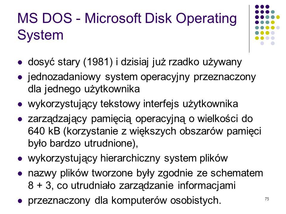 74 Linux stosunkowo nowy (pierwsza edycja 1991) darmowy, zgodny z systemem UNIX, system operacyjny stworzony przez Linusa Torvalda (zobacz: http://wiz