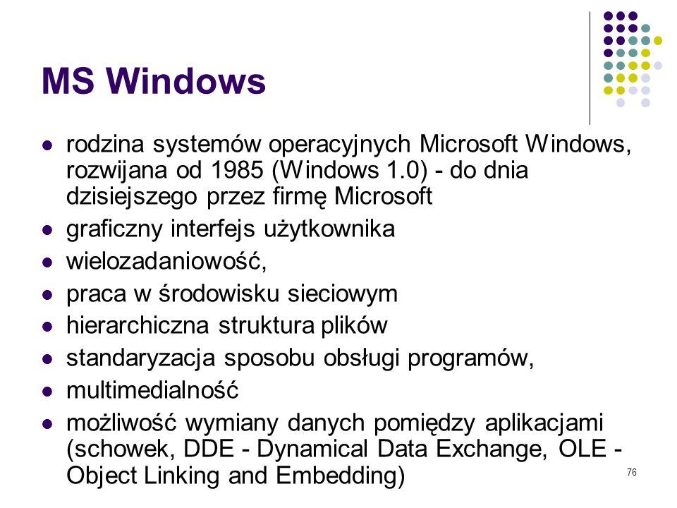 75 MS DOS - Microsoft Disk Operating System dosyć stary (1981) i dzisiaj już rzadko używany jednozadaniowy system operacyjny przeznaczony dla jednego