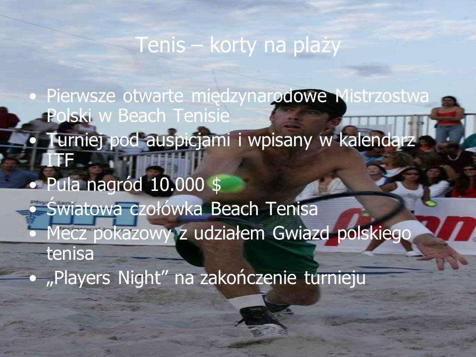 Tenis – korty na plaży Pierwsze otwarte międzynarodowe Mistrzostwa Polski w Beach Tenisie Turniej pod auspicjami i wpisany w kalendarz ITF Pula nagród 10.000 $ Światowa czołówka Beach Tenisa Mecz pokazowy z udziałem Gwiazd polskiego tenisa Players Night na zakończenie turnieju