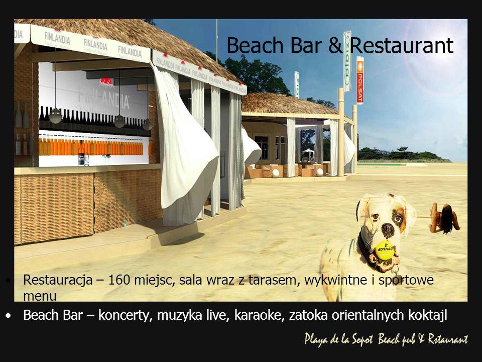Beach Bar & Restaurant Restauracja – 160 miejsc, sala wraz z tarasem, wykwintne i sportowe menu Beach Bar – koncerty, muzyka live, karaoke, zatoka orientalnych koktajl