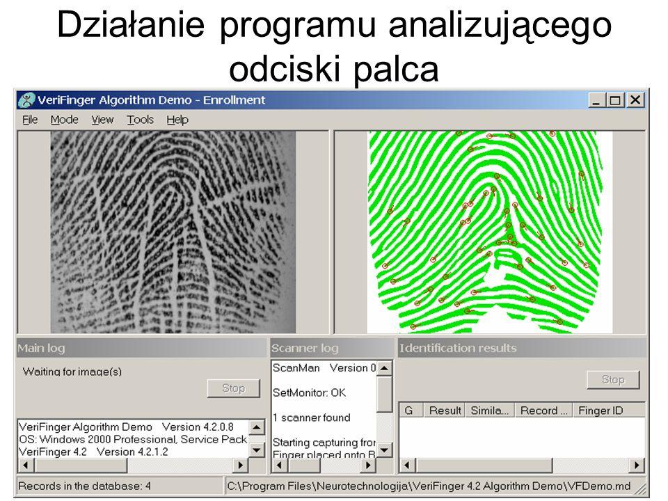 Weryfikacja osoby na podstawie odcisku palca polega na porównaniu minucji odczytanych na aktualnie wprowadzonym odcisku oraz minucji dla wzorca zareje